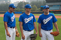 17 August 2007: Boris Marche, Kenji Hagiwara and Vincent Ferreira are seen during the Good Luck Beijing International baseball tournament (olympic test event) at the Wukesong Baseball Field in Beijing, China.
