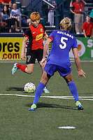 Rochester, NY - Friday May 27, 2016: Boston Breakers defender Kassey Kallman (5) marks Western New York Flash midfielder Jeon Ga-Eul (7) The Western New York Flash defeated the Boston Breakers 4-0 during a regular season National Women's Soccer League (NWSL) match at Rochester Rhinos Stadium.