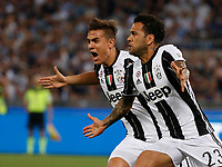 Paulo Dyabala and Dani Alves  celebrates after scoring during the  italian cup final soccer match,between Juventus Fc   and SS Lazio     at  the Olympic   stadium in Rome  Italy , May 17, 2017