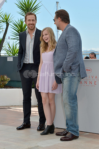 Ryan Gosling, Angourie Rice and Russell Crowe at the Photocall &acute;The Nice Guys` - 69th Cannes Film Festival on May 15, 2016 in Cannes, France.<br /> CAP/LAF<br /> &copy;Lafitte/Capital Pictures /MediaPunch ***NORTH AND SOUTH AMERICA ONLY***