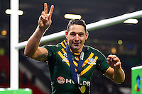 Picture by Alex Whitehead/SWpix.com - 30/11/2013 - Rugby League - Rugby League World Cup Final - New Zealand v Australia - Old Trafford, Manchester, England - Australia's Billy Slater celebrates after the game.