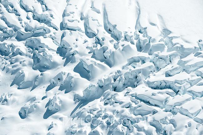 Patterns of seracs and crevasses on Fox Glacier, Westland Tai Poutini National Park, West Coast, UNESCO World Heritage Area, New Zealand, NZ
