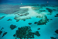 Aerial view of Vlasoff Cay and surrounding reefs on the Great Barrier Reef, Australia