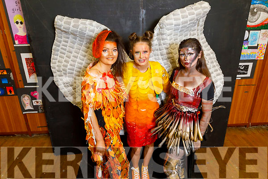 Presentation Castleisland students Kate O'Connor (Peeling Good), Hillary O'Connor (Time for T) and April O'Connor (Hung up on you) display their Junk Kouture creations at the school on Friday
