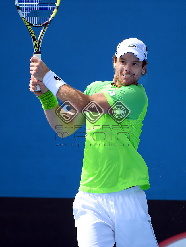 Blaz Kavcic (SLO) round 1 action<br /> 2015 Australian Open Tennis <br /> Grand Slam of Asia Pacific<br /> Melbourne Park, Vic Australia<br /> Monday 19 January 2015<br /> &copy; Sport the library / Jeff Crow