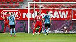 09.06.2020, xtgx, Fussball 3. Liga, Hallescher FC - SV Waldhof Mannheim emspor, v.l. Toni Lindenhahn (Halle, 6) (n.i.b.) schiesst Tor, Torschuetze, erzielt Tor, Treffer, scores the goal 1:0 beim Spiel in der 3. Liga, Hallescher FC - SV Waldhof Mannheim.<br /> <br /> Foto © PIX-Sportfotos *** Foto ist honorarpflichtig! *** Auf Anfrage in hoeherer Qualitaet/Aufloesung. Belegexemplar erbeten. Veroeffentlichung ausschliesslich fuer journalistisch-publizistische Zwecke. For editorial use only. DFL regulations prohibit any use of photographs as image sequences and/or quasi-video.