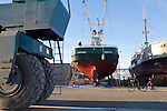 Port Townsend, Boat Haven Marina,  purse seiner, Saturn, fishing vessel, hauled out in boatyard, Jefferson County, Olympic Peninsula, Puget Sound, Washington State, Pacific Northwest, USA, FV Saturn,