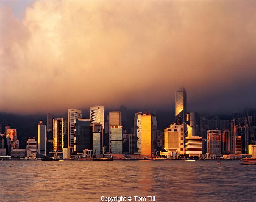 Hong Kong at Dawn, View across Victoria Harbour and Kowloon Bay, Hong Kong, People's Republic of China