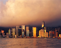 Hong Kong at Dawn, View across Victoria Harbour and Kowloon Bay, Hong Kong, People's Republic of China