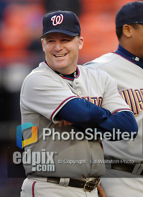 3 April 2006: Mike Stanton, pitcher for the Washington Nationals, smiles during pre-game introductions prior to the Opening Day game against the New York Mets at Shea Stadium, in Flushing, New York. The Mets defeated the Nationals 3-2 to lead off the 2006 MLB season...Mandatory Photo Credit: Ed Wolfstein Photo..