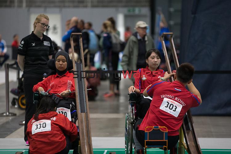 Nurulasyiqah Mahammad Taha (SIN) & Yuen Kei Ho (HKG)<br /> BISFed 2018 World Boccia Championships <br /> Exhibition Centre Liverpool<br /> 12.08.18<br /> ©Steve Pope<br /> Sportingwales