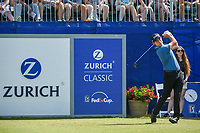 Patrick Cantlay (USA) watches his tee shot on 1 during Round 3 of the Zurich Classic of New Orl, TPC Louisiana, Avondale, Louisiana, USA. 4/28/2018.<br /> Picture: Golffile | Ken Murray<br /> <br /> <br /> All photo usage must carry mandatory copyright credit (&copy; Golffile | Ken Murray)