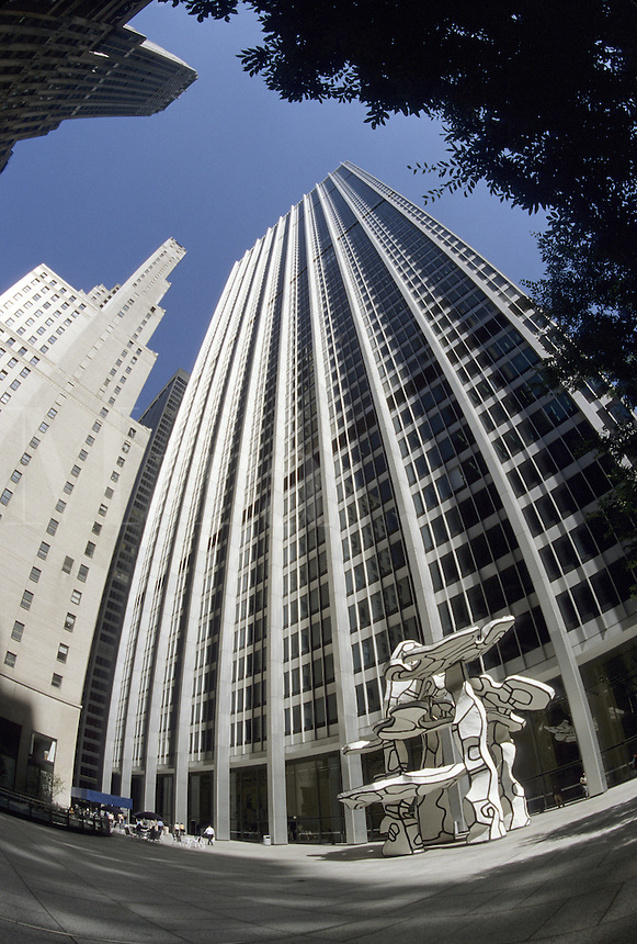 New York City, NY.One Chase Manhattan Plaza with a Dubuffet sculpture in front of it. It is in the financial District (fisheye view)