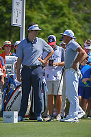 Beau Hossler (USA) and Rickie Fowler (USA) chat on the third tee during round 3 of the Houston Open, Golf Club of Houston, Houston, Texas. 3/31/2018.<br /> Picture: Golffile | Ken Murray<br /> <br /> <br /> All photo usage must carry mandatory copyright credit (&copy; Golffile | Ken Murray)