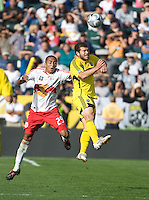 Diego Jimenez and Alejandro Moreno go up for a header during MLS Cup 2008. Columbus Crew defeated the New York Red Bulls, 3-1, Sunday, November 23, 2008. Photo by John Todd/isiphotos.com