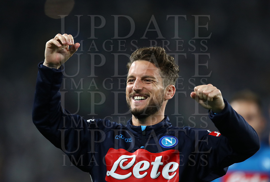 Calcio, Serie A: Juventus - Napoli, Torino, Allianz Stadium, 22 aprile, 2018.<br /> Napoli's Dries Mertens celebrates after winning 1-0  the Italian Serie A football match between Juventus and Napoli at Torino's Allianz stadium, April 22, 2018.<br /> UPDATE IMAGES PRESS/Isabella Bonotto