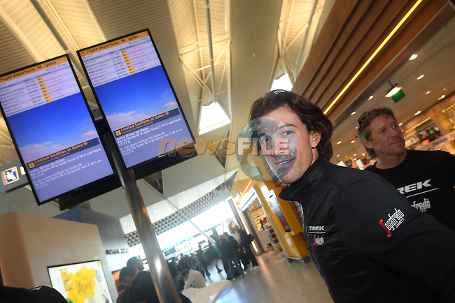 Fabian Cancellara (SUI) Trek-Segafredo pictured in Schipol Airport on his way from Amsterdam to the airport at Lamezia Terme in the far south of Italy, and then Catanzaro, the start town for Stage 4 tomorrow, The Netherlands. 9th May 2016.<br /> Picture: ANSA/Claudio Peri   Newsfile<br /> <br /> <br /> All photos usage must carry mandatory copyright credit (&copy; Newsfile   ANSA/Claudio Peri)