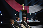 Elia Viviani (ITA), Defending Champion Christopher Froome (GBR) and Mauro Vegni Race Director at the Presentation of the Grand Start of the 102nd edition of the Giro d'Italia 2019 held in the RAI TV studios, Milan, Italy. 31st October 2018.<br /> Picture: LaPresse/Marco Alpozzi | Cyclefile<br /> <br /> <br /> All photos usage must carry mandatory copyright credit (&copy; Cyclefile | LaPresse/Marco Alpozzi)