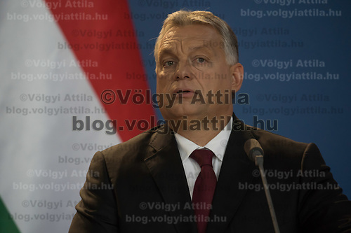 Viktor Orban prime minister of Hungary talks during a joint press conference with Nguyen Phu Trong (not in picture) General Secretary of the Communist Party of Vietnam in Budapest, Hungary on Sept. 10, 2018. ATTILA VOLGYI