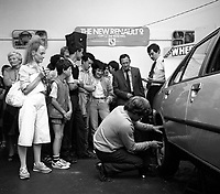Joe Ryan, Ryan Motors, Killarney at back, demonstrating the new Renault 9 in the 1970's. On left is Mary McGough.<br /> Picture: macmonagle archive<br /> e: info@macmonagle.com