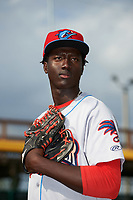 Clearwater Threshers pitcher Franklyn Kilome (47) poses for a photo before a game against the Bradenton Marauders on April 18, 2017 at LECOM Park in Bradenton, Florida.  Clearwater defeated Bradenton 4-2.  (Mike Janes/Four Seam Images)