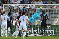 Jordan Pickford of England is unable to prevent Martin Chrien (out of picture) of Slovakia scoring the opening goal during Slovakia Under-21 vs England Under-21, UEFA European Under-21 Championship Football at The Kolporter Arena on 19th June 2017