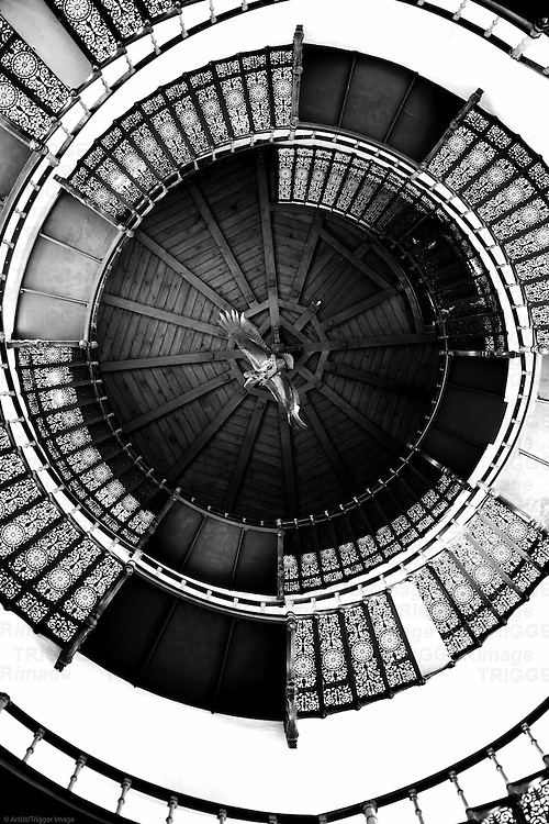 The spiral staircase of the middle tower in the hunting seat Granitz in Binz.