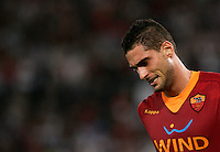 AS Roma defender Aleandro Rosi reacts after missing a scoring chance during an Europa League preliminary second leg football match between AS Roma and SK Slovan Bratislava, at Rome's Olympic stadium, Roma, 25 august 2011..UPDATE IMAGES PRESS/Riccardo De Luca