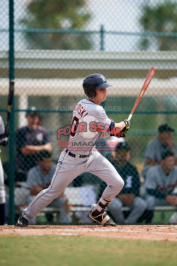 Detroit Tigers Ulrich Bojarski (30) at bat during an Instructional League game against the Pittsburgh Pirates on October 6, 2017 at Pirate City in Bradenton, Florida.  (Mike Janes/Four Seam Images)
