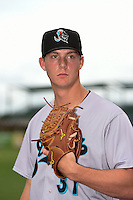 Jupiter Hammerheads pitcher Austin Brice (37) poses for a photo before a game against the Bradenton Marauders on April 17, 2014 at McKechnie Field in Bradenton, Florida.  Bradenton defeated Jupiter 2-1.  (Mike Janes/Four Seam Images)