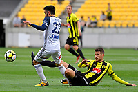 Melbourne Victory&rsquo;s Stefan Nigro and Wellington Phoenix&rsquo; Dario Vidosic in action during the A League - Wellington Phoenix v Melbourne Victory FC at Westpac Stadium, Wellington, New Zealand on Sunday 3 December.<br /> Photo by Masanori Udagawa. <br /> www.photowellington.photoshelter.com