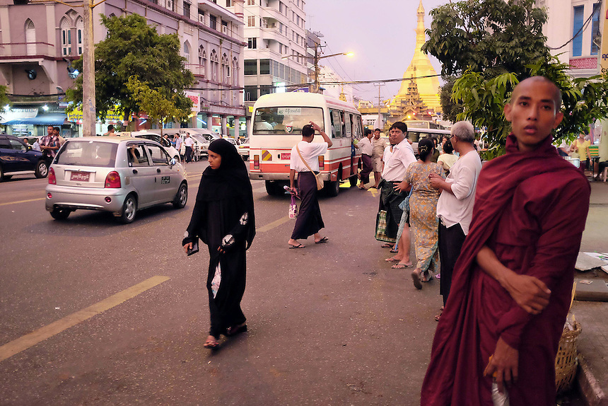 Many different religious faiths and ethnicities live in downtown Rangoon (Yangon).