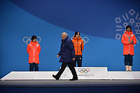 OLYMPIC GAMES: PYEONGCHANG: 15-02-2018, Medals Plaza, Victories Ceremony, Podium 1000m Ladies Long Track Speed Skating, Nao Kodaira (JPN), Jorien ter Mors (NED), Miho Takagi (JPN), Roland Maillard (ISU), ©photo Martin de Jong