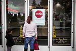 SACRAMENTO, CALIFORNIA - MARCH 3, 2019: Shoppers are shut out of the Arden Fair Mall after a group of young protestors staged an overnight sit-in to protest the Sacramento County District Attorney's decision to not charge the Sacramento Police Department officers who shot an unarmed Stephon Clark in 2018. CREDIT: Max Whittaker for The New York Times