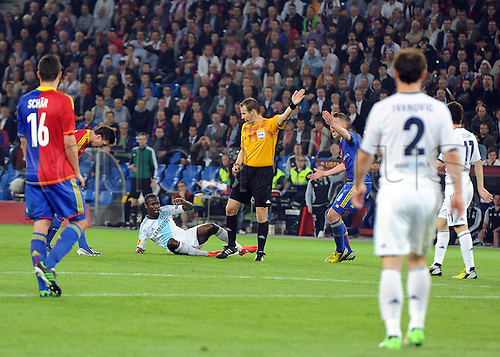 25.04.2013 Basel, Switzerland. Ramires of Chelsea wins a free kick in injury time during the Europa League Semi Final 1st Leg game between FC Basel and Chelsea from St. Jakob-Park.