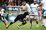 Bath's Jonathan Joseph tackled by London Wasps' Elliot Daly - Rugby Union - 2014 / 2015 Aviva Premiership - Wasps vs. Bath - Adams Park Stadium - London - 11/10/2014 - Pic Charlie Forgham-Bailey/Sportimage