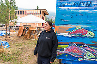 "Mayuk Manuel and ""Tiny Houses"" being built by First Nations in Secwepemc territory to protest Kinder Morgans proposed construction of the Trans Mountian pipeline twinning. They plan to build ten tiny homes to be placed along and block construction of the pipeline route through Secwepemc territory. Begun by the Mayuk Manuel and her twin sister Kanahus, and with support from Mayuk's partner Isha Jules, they call themselves the Tiny House Warriors. PLEASE NOTE. NOT MODEL RELEASED. please contact those photographed for permission to publish."
