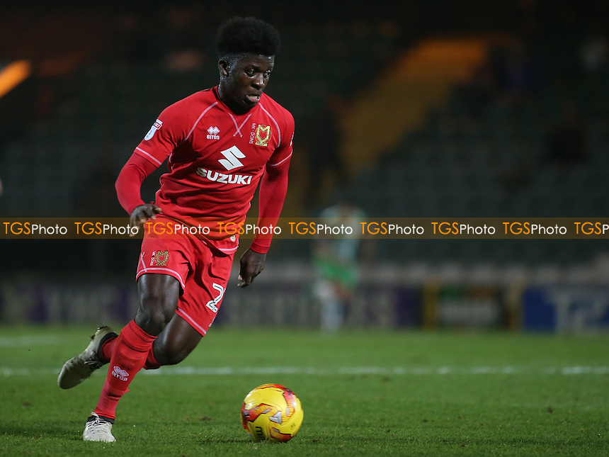 Kabongo Tshimanga of MK Dons in action during Yeovil Town vs MK Dons, Checkatrade Trophy Football at Huish Park on 6th December 2016