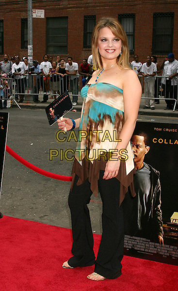 "KIMBERLY BROWN.""Collateral"" Premiere - New York - Arrivals.New York City, New York .August 4, 2004.full length, strapless halterneck, tye dye top, flowing, summery.www.capitalpictures.com.sales@capitalpictures.com.©Capital Pictures"