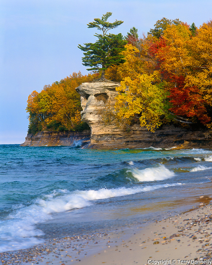 Pictured Rocks National Lakeshore, MI<br /> Shore of Lake Superior & cliffs of Chapel Rock with forest in fall color