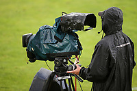 A cameraman dons the waterproofs and protective gear for his camera in anticipation of a thunderstorm during Portugal Under-19 vs Turkey Under-21, Tournoi Maurice Revello Football at Stade Parsemain on 3rd June 2018