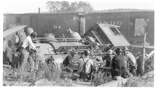 Engine derailed.  Box car and converted box to RPO.  Wreck east of Carracas, NM.<br /> D&amp;RG  e. of Carracas, NM  7/15/1917