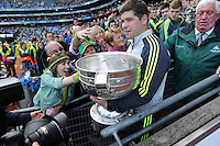 Eamonn Fitzmaurice lifts the Sam Maguire Cup to celebrate  Kerry's victory over Donegal in the All-Ireland Football Final against  in Croke Park 2014.<br /> Photo: Don MacMonagle<br /> <br /> <br /> Photo: Don MacMonagle <br /> e: info@macmonagle.com