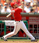 17 June 2006: Brendan Harris (left), infielder for the Washington Nationals, in action against the New York Yankees at RFK Stadium, in Washington, DC. The Nationals overcame a seven run deficit to win 11-9 in the second game of the interleague series...Mandatory Photo Credit: Ed Wolfstein Photo...