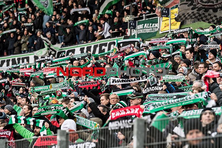 09.02.2019, HDI Arena, Hannover, GER, 1.FBL, Hannover 96 vs 1. FC Nuernberg<br /> <br /> DFL REGULATIONS PROHIBIT ANY USE OF PHOTOGRAPHS AS IMAGE SEQUENCES AND/OR QUASI-VIDEO.<br /> <br /> im Bild / picture shows<br /> Hannover 96 Fans / Ultras halten Fan-Schals und schwenken Fahnen in Nordkurve der HDI Arena, <br /> <br /> Foto © nordphoto / Ewert