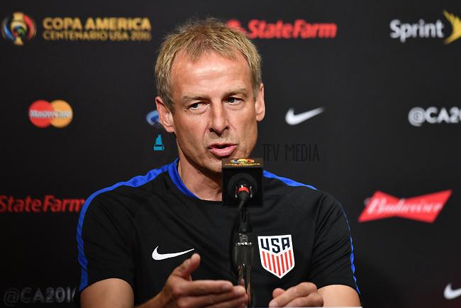 United States Head Coach Jurgen Klinsmann speaks to the media during a press conference on the eve of Copa America Centenario, in Santa Clara, CA. Thursday, Jun 02, 2016. (TFV Media via AP) *Mandatory Credit*
