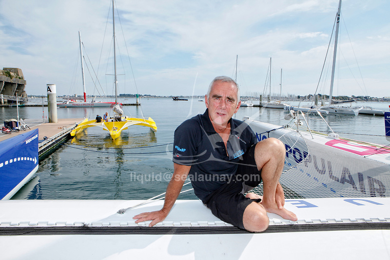 "Loick Peyron replacement skipper of Armel Le Cléac'h (he has to stand down from the Route du Rhum following a injury to his right hand) for ""La Route du Rhum"" on the Maxi Trimaran Solo Banque Populaire VII."