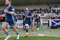 London Scottish players during the Greene King IPA Championship match between London Scottish Football Club and Ealing Trailfinders at Richmond Athletic Ground, Richmond, United Kingdom on 8 September 2018. Photo by David Horn.