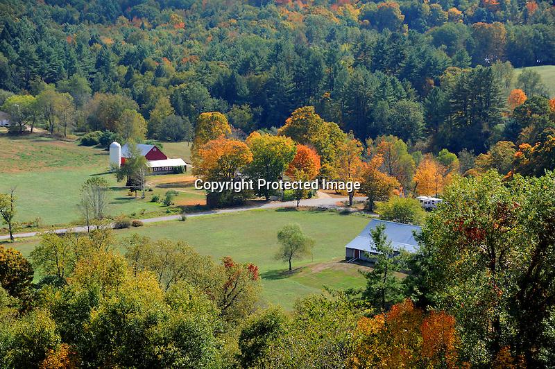 View of Farmstead during Fall Season in Walpole, New Hampshire USA