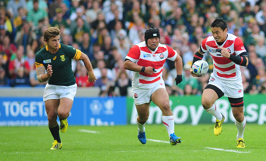 Japan's Ayumu Goromaru in action during todays match<br /> <br /> Photographer Kevin Barnes/CameraSport<br /> <br /> Rugby Union - 2015 Rugby World Cup - Japan v South Africa - Saturday 19th September 2015 - The American Express Community Stadium - Falmer - Brighton<br /> <br /> &copy; CameraSport - 43 Linden Ave. Countesthorpe. Leicester. England. LE8 5PG - Tel: +44 (0) 116 277 4147 - admin@camerasport.com - www.camerasport.com